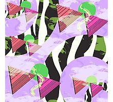 1980s Geometric Pattern Purple Triangles Splatters and Zebra Print Photographic Print