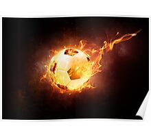 Football Soccer Ball on Fire Poster