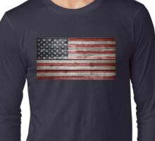 American Flag on Distressed Wood Long Sleeve T-Shirt