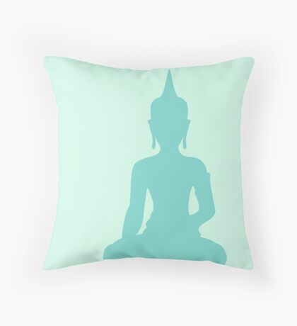 Pastel Mint Buddha Throw Pillow