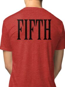 FIFTH, FIVE, NUMBER 5, TEAM SPORTS, Competition, BLACK TYPE Tri-blend T-Shirt