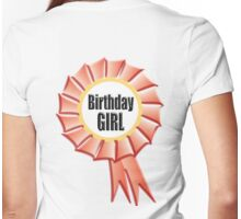 Birthday GIRL, Happy Birthday, Red Rosette, on WHITE Womens Fitted T-Shirt