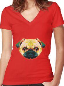 Geometric Bulldog in Green Women's Fitted V-Neck T-Shirt