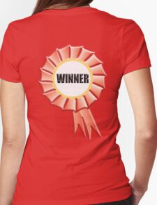 WINNER, FIRST, Red, Rosette, Win, Champion, Triumph Womens Fitted T-Shirt