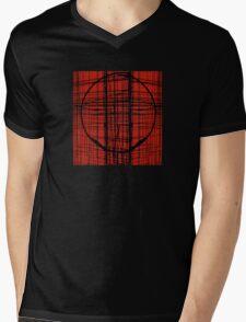 Circle Plaid Mens V-Neck T-Shirt