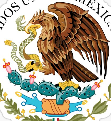 Close up of seal in the national flag of Mexico Sticker