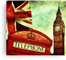 Vintage Retro Big Ben Clock and Red Box in London Canvas Print