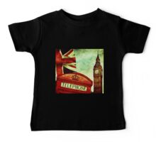 Vintage Retro Big Ben Clock and Red Box in London Baby Tee