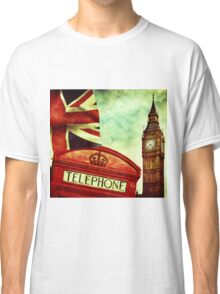 Vintage Retro Big Ben Clock and Red Box in London Classic T-Shirt
