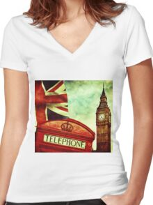 Vintage Retro Big Ben Clock and Red Box in London Women's Fitted V-Neck T-Shirt