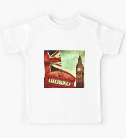 Vintage Retro Big Ben Clock and Red Box in London Kids Tee