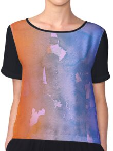 Orange and Blue Watercolor Chiffon Top