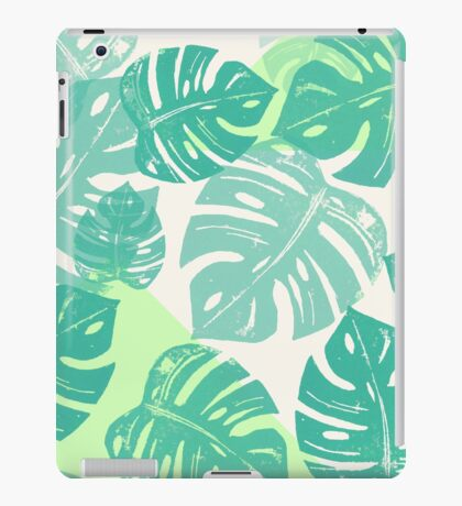 Linocut Monstera Green iPad Case/Skin