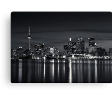 Toronto Skyline At Night From Polson St No 2 Black and White Version Canvas Print