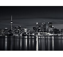 Toronto Skyline At Night From Polson St No 2 Black and White Version Photographic Print