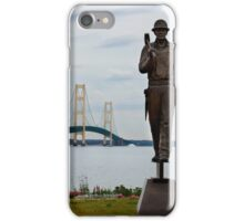 Ironworkers Statue and Mackinac Bridge iPhone Case/Skin