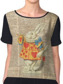 White Rabbit with Trumpet,Alice in Wonderland,Vintage Dictionary Book Page Art Chiffon Top