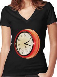 Vintage Clock Women's Fitted V-Neck T-Shirt