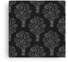 Rose bouquet seamless pattern. Hand drawn outline black background. Flower sketch wallpaper. Canvas Print