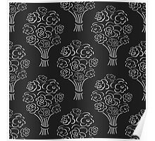 Rose bouquet seamless pattern. Hand drawn outline black background. Flower sketch wallpaper. Poster