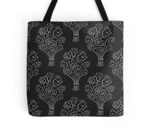Rose bouquet seamless pattern. Hand drawn outline black background. Flower sketch wallpaper. Tote Bag