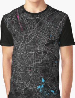 Mexico City Dark Magenta Map Graphic T-Shirt