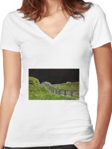 Neon Fence Women's Fitted V-Neck T-Shirt