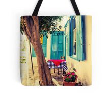 Picturesque Greek Island cafe Tote Bag