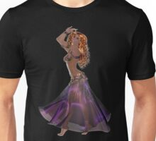 African American Arabic Brazilian Belly Dancer Woman with Red Curly Hair Wearing Purple and Golden Belly Dance Clothing  'bedlah' Unisex T-Shirt