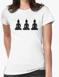 Simple Black & White Buddhas Womens Fitted T-Shirt