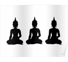Simple Black & White Buddhas Poster