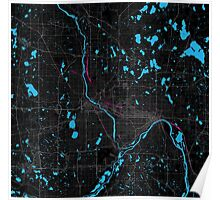 Minneapolis City Dark Magenta Map Poster