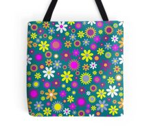 Bright Colorful Flowers On Dark Turquoise Tote Bag