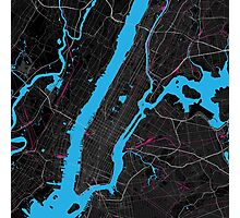 New york Dark Magenta Map Photographic Print
