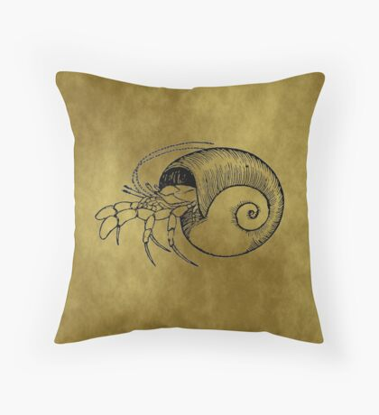 Grunge Hermit Crab Throw Pillow