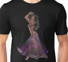 African American Arabic Brazilian Belly Dancer Woman with Black Curly Hair Wearing Purple and Golden Belly Dance Clothing  'bedlah' Unisex T-Shirt