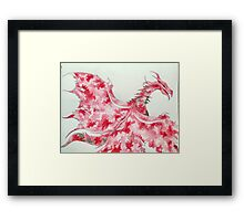 Red Watercolor Red Dragon  Framed Print