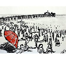 Beach Red Umbrella Black And White Seaside Illustration Photographic Print
