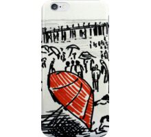 Beach Red Umbrella Black And White Seaside Illustration iPhone Case/Skin