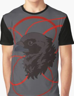 Black Raven with Red Ribbon Custom Design Graphic T-Shirt