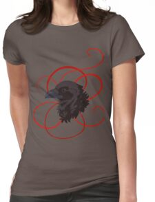 Black Raven with Red Ribbon Custom Design Womens Fitted T-Shirt