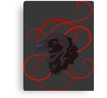 Black Raven with Red Ribbon Custom Design Canvas Print