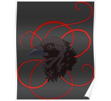 Black Raven with Red Ribbon Custom Design Poster