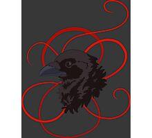 Black Raven with Red Ribbon Custom Design Photographic Print