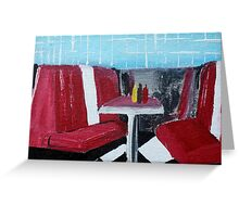 American Diner Art Red White Blue Kitchen Decor Contemporary Acrylic Painting Greeting Card
