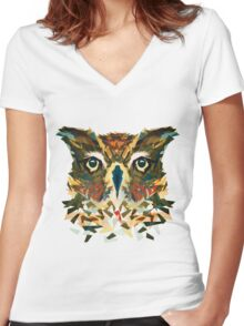 Camo Owl Women's Fitted V-Neck T-Shirt
