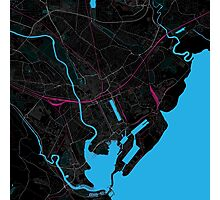 Cardiff Dark Magenta Map Photographic Print