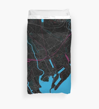 Cardiff Dark Magenta Map Duvet Cover