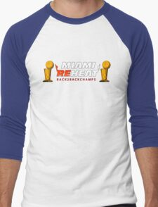 Miami Reheat Trophies on Red Men's Baseball ¾ T-Shirt