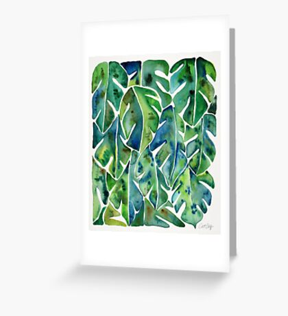 Split Leaf Philodendron – Green Greeting Card